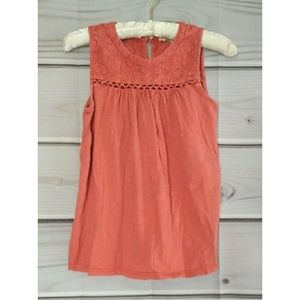 Lucky brand coral smock neck tank top small